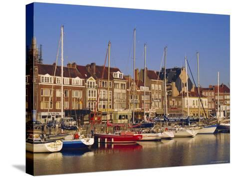 Boats and Harbour, Ostend, Belgium-Jenny Pate-Stretched Canvas Print