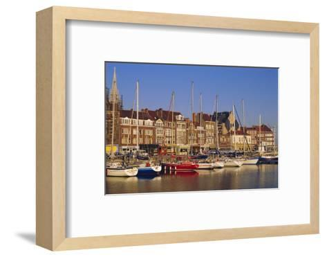 Boats and Harbour, Ostend, Belgium-Jenny Pate-Framed Art Print