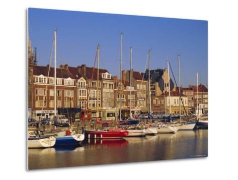 Boats and Harbour, Ostend, Belgium-Jenny Pate-Metal Print