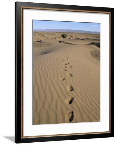 Dunes and Camp Under Tree in the Distance at Erg Al Hatin, Desert Trek, Draa Valley, Morocco-Jenny Pate-Framed Art Print
