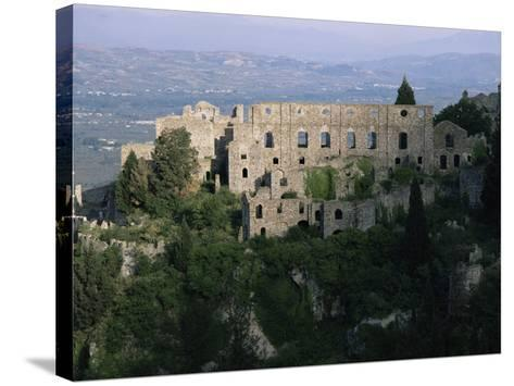 Palace of the Despots and the Plain of Sparta Below, Mistra, Greece-Adrian Neville-Stretched Canvas Print