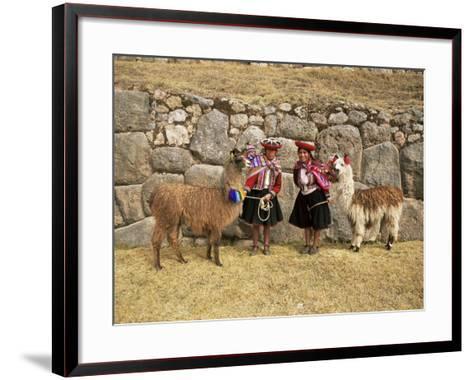 Local Women and Llamas in Front of Inca Ruins, Near Cuzco, Peru, South America-Gavin Hellier-Framed Art Print