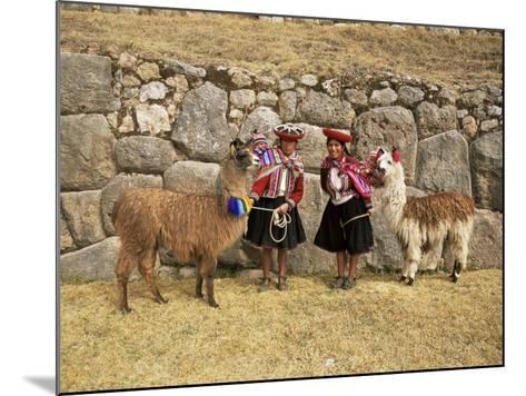 Local Women and Llamas in Front of Inca Ruins, Near Cuzco, Peru, South America-Gavin Hellier-Mounted Photographic Print