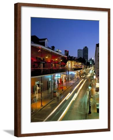 Bourbon Street and City Skyline at Night, New Orleans, Louisiana, USA-Gavin Hellier-Framed Art Print