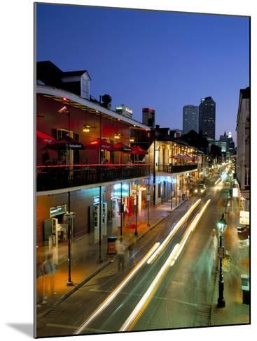 Bourbon Street and City Skyline at Night, New Orleans, Louisiana, USA-Gavin Hellier-Mounted Photographic Print