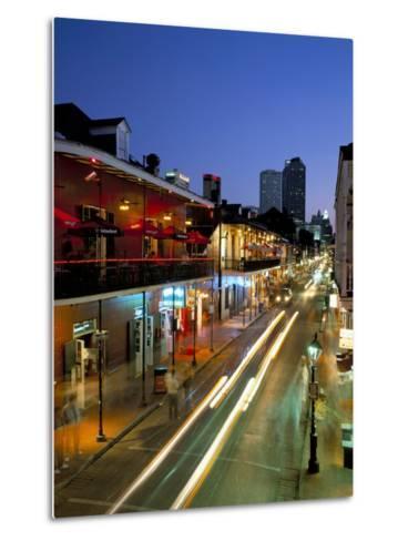 Bourbon Street and City Skyline at Night, New Orleans, Louisiana, USA-Gavin Hellier-Metal Print