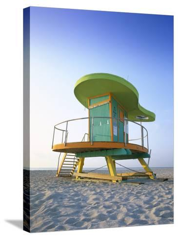 Lifeguard Hut in Art Deco Style, South Beach, Miami Beach, Miami, Florida, USA-Gavin Hellier-Stretched Canvas Print