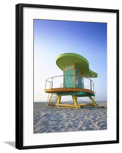 Lifeguard Hut in Art Deco Style, South Beach, Miami Beach, Miami, Florida, USA-Gavin Hellier-Framed Art Print
