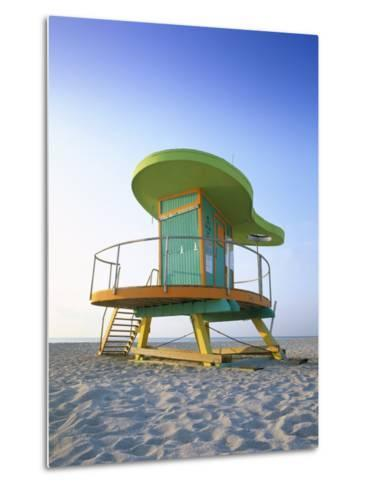 Lifeguard Hut in Art Deco Style, South Beach, Miami Beach, Miami, Florida, USA-Gavin Hellier-Metal Print