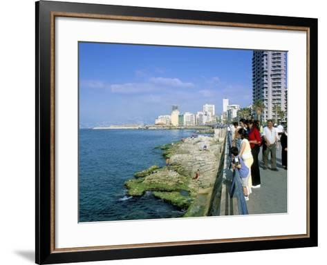 View of Waterfront and Downtown, El Manara Corniche, Beirut, Lebanon, Middle East-Gavin Hellier-Framed Art Print