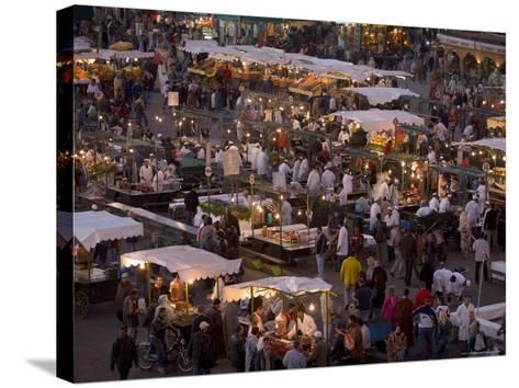 Food Stalls in the Evening, Djemaa El Fna, Marrakesh, Morocco, North Africa, Africa-Gavin Hellier-Stretched Canvas Print