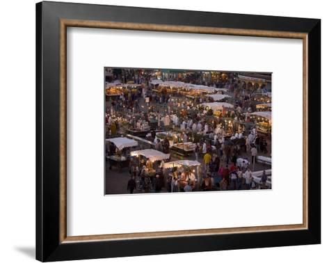 Food Stalls in the Evening, Djemaa El Fna, Marrakesh, Morocco, North Africa, Africa-Gavin Hellier-Framed Art Print