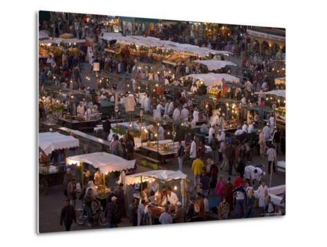 Food Stalls in the Evening, Djemaa El Fna, Marrakesh, Morocco, North Africa, Africa-Gavin Hellier-Metal Print