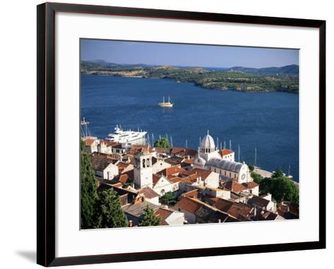 View Over the Old Town and Cathedral of St. Jacob, Sibenik, Knin Region, Dalmatia, Croatia-Gavin Hellier-Framed Art Print