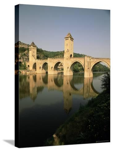The Medieval Pont Valentre Over the River Lot, Cahors, Lot, Midi Pyrenees, France-David Hughes-Stretched Canvas Print