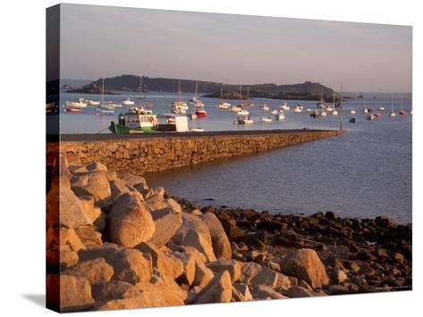 Boats in Harbour, Presquile Grande, Cote De Granit Rose, Cotes d'Armor, Brittany, France-David Hughes-Stretched Canvas Print