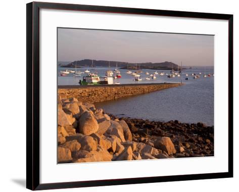 Boats in Harbour, Presquile Grande, Cote De Granit Rose, Cotes d'Armor, Brittany, France-David Hughes-Framed Art Print
