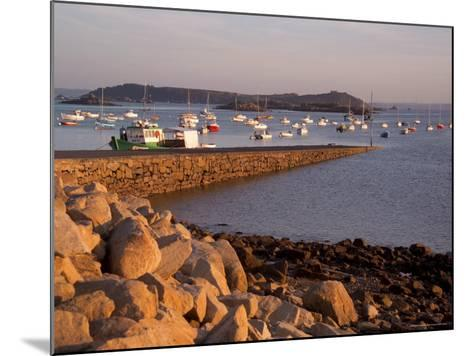 Boats in Harbour, Presquile Grande, Cote De Granit Rose, Cotes d'Armor, Brittany, France-David Hughes-Mounted Photographic Print