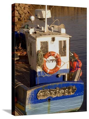 Fishing Boat in Port at Coastal Resort of Trebeurden, Cotes d'Armor, France-David Hughes-Stretched Canvas Print