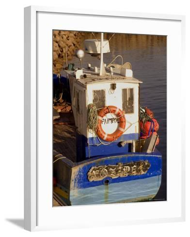 Fishing Boat in Port at Coastal Resort of Trebeurden, Cotes d'Armor, France-David Hughes-Framed Art Print