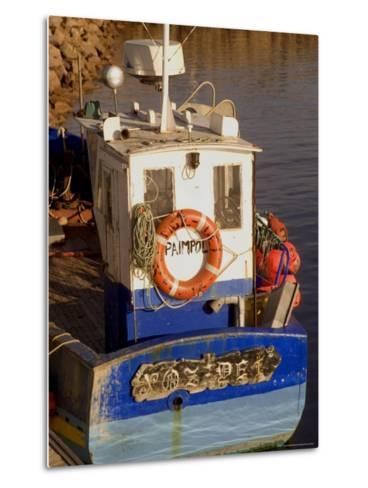 Fishing Boat in Port at Coastal Resort of Trebeurden, Cotes d'Armor, France-David Hughes-Metal Print
