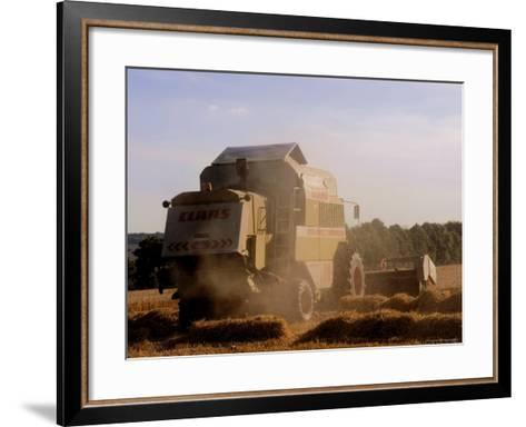 Combine Harvester Baling Hay, Seen from the Cotswolds Way Footpath, the Coltswolds, England-David Hughes-Framed Art Print