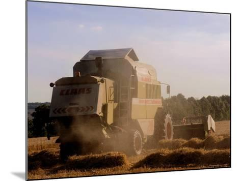 Combine Harvester Baling Hay, Seen from the Cotswolds Way Footpath, the Coltswolds, England-David Hughes-Mounted Photographic Print