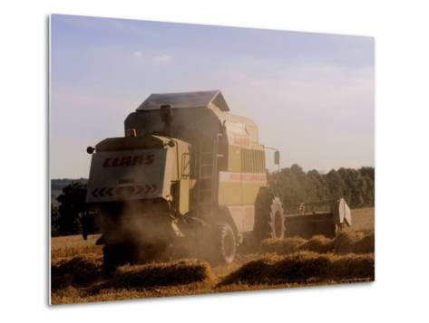 Combine Harvester Baling Hay, Seen from the Cotswolds Way Footpath, the Coltswolds, England-David Hughes-Metal Print