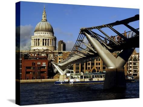 The Millennium Bridge Across the River Thames, with St. Paul's Cathedral Beyond, London, England-David Hughes-Stretched Canvas Print