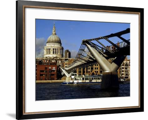 The Millennium Bridge Across the River Thames, with St. Paul's Cathedral Beyond, London, England-David Hughes-Framed Art Print