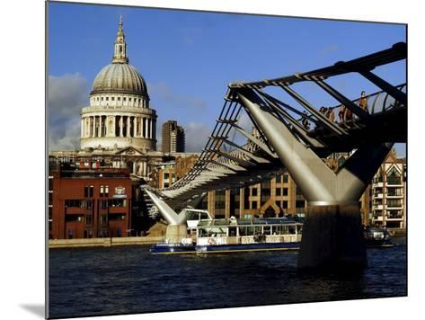 The Millennium Bridge Across the River Thames, with St. Paul's Cathedral Beyond, London, England-David Hughes-Mounted Photographic Print