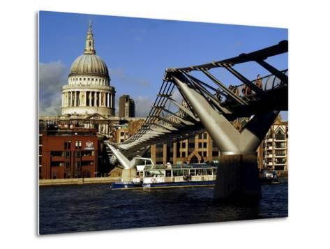 The Millennium Bridge Across the River Thames, with St. Paul's Cathedral Beyond, London, England-David Hughes-Metal Print