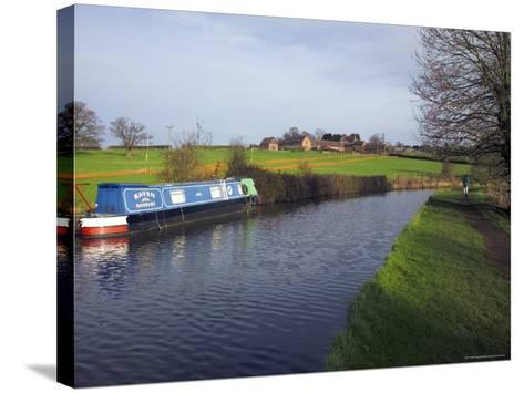 Narrow Boat on the Worcester and Birmingham Canal, Tardebigge Locks, Worcestershire, England-David Hughes-Stretched Canvas Print