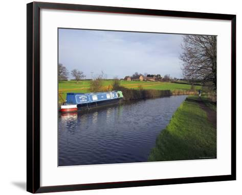Narrow Boat on the Worcester and Birmingham Canal, Tardebigge Locks, Worcestershire, England-David Hughes-Framed Art Print