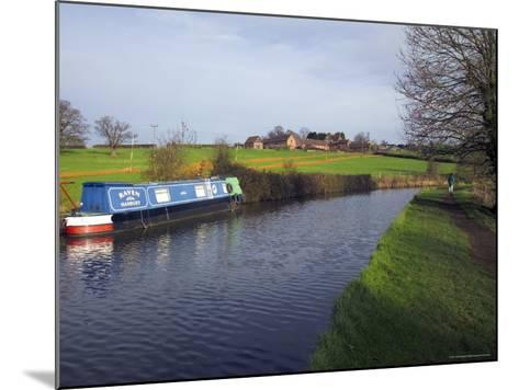 Narrow Boat on the Worcester and Birmingham Canal, Tardebigge Locks, Worcestershire, England-David Hughes-Mounted Photographic Print