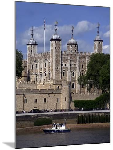 A Police Launch on the River Thames, Passing the Tower of London, England-David Hughes-Mounted Photographic Print