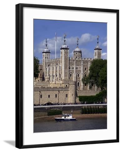 A Police Launch on the River Thames, Passing the Tower of London, England-David Hughes-Framed Art Print