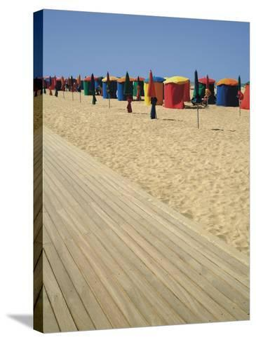 La Planche (Boadwalk) and Beach, Deauville, Calvados, Normandy, France-David Hughes-Stretched Canvas Print