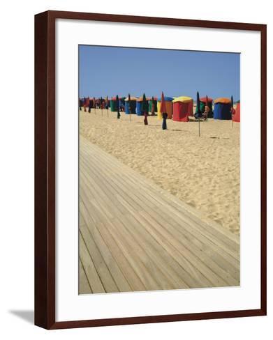 La Planche (Boadwalk) and Beach, Deauville, Calvados, Normandy, France-David Hughes-Framed Art Print