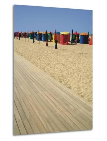 La Planche (Boadwalk) and Beach, Deauville, Calvados, Normandy, France-David Hughes-Metal Print