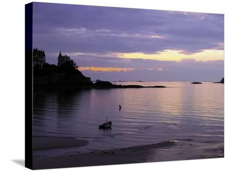 Sunset Over Bay, Dinard, Cote d'Emeraude (Emerald Coast), Cotes d'Armor, Brittany, France-David Hughes-Stretched Canvas Print