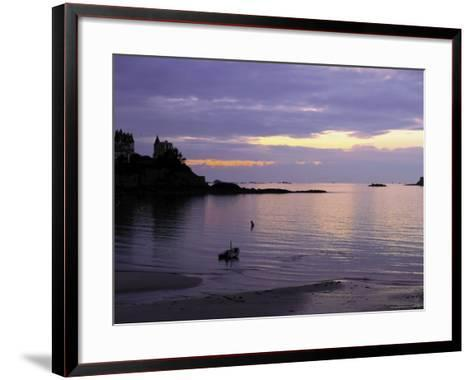 Sunset Over Bay, Dinard, Cote d'Emeraude (Emerald Coast), Cotes d'Armor, Brittany, France-David Hughes-Framed Art Print