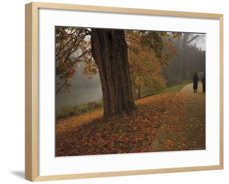 Couple Walking Through the Jephson Gardens in Autumn, Leamington Spa, Warwickshire, England-David Hughes-Framed Art Print