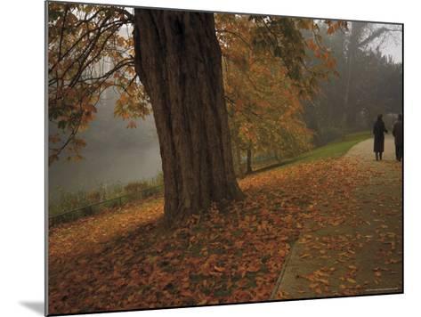 Couple Walking Through the Jephson Gardens in Autumn, Leamington Spa, Warwickshire, England-David Hughes-Mounted Photographic Print