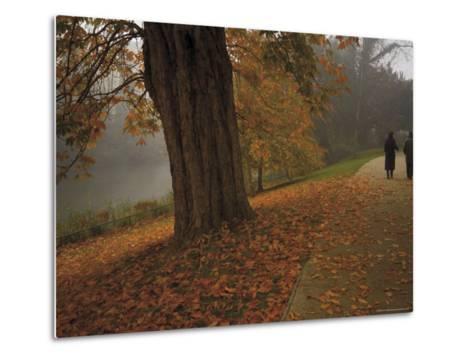 Couple Walking Through the Jephson Gardens in Autumn, Leamington Spa, Warwickshire, England-David Hughes-Metal Print