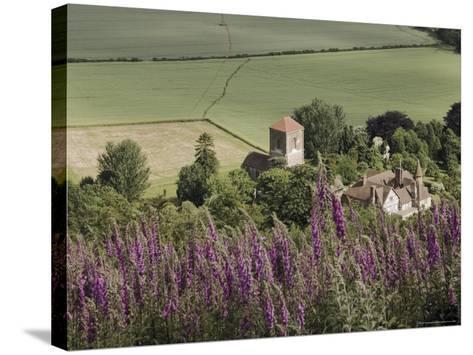 Little Malvern Village, Viewed from Main Ridge of the Malvern Hills, Worcestershire, England-David Hughes-Stretched Canvas Print