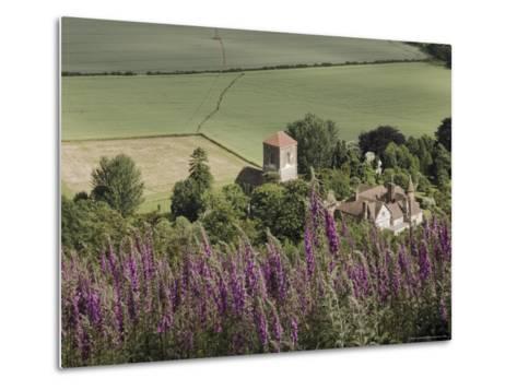 Little Malvern Village, Viewed from Main Ridge of the Malvern Hills, Worcestershire, England-David Hughes-Metal Print