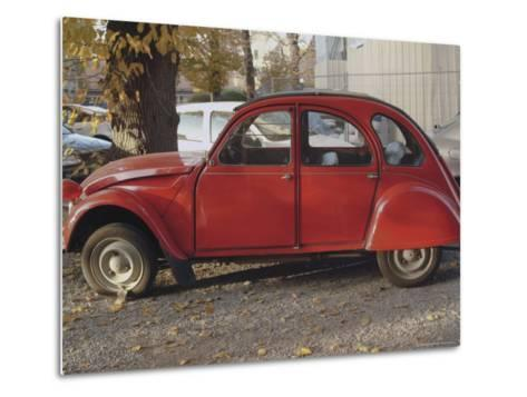 Citroen 2Cv Parked in Centre of Town, St. Omer, Pas De Calais, France-David Hughes-Metal Print