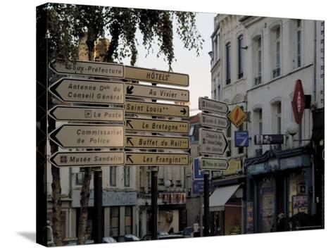 Signs in Town Centre, St. Omer, Pas De Calais, France-David Hughes-Stretched Canvas Print