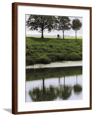 Cyclist on Banks of River Somme, St. Valery Sur Somme, Picardy, France-David Hughes-Framed Art Print